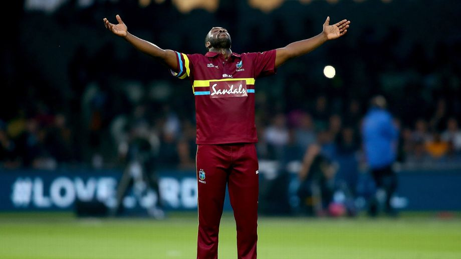 Allrounder strikes brutal 21-ball 35 from No. 3 as West Indies chase down revised 91 target in a 11-over chase with 11 balls to spare