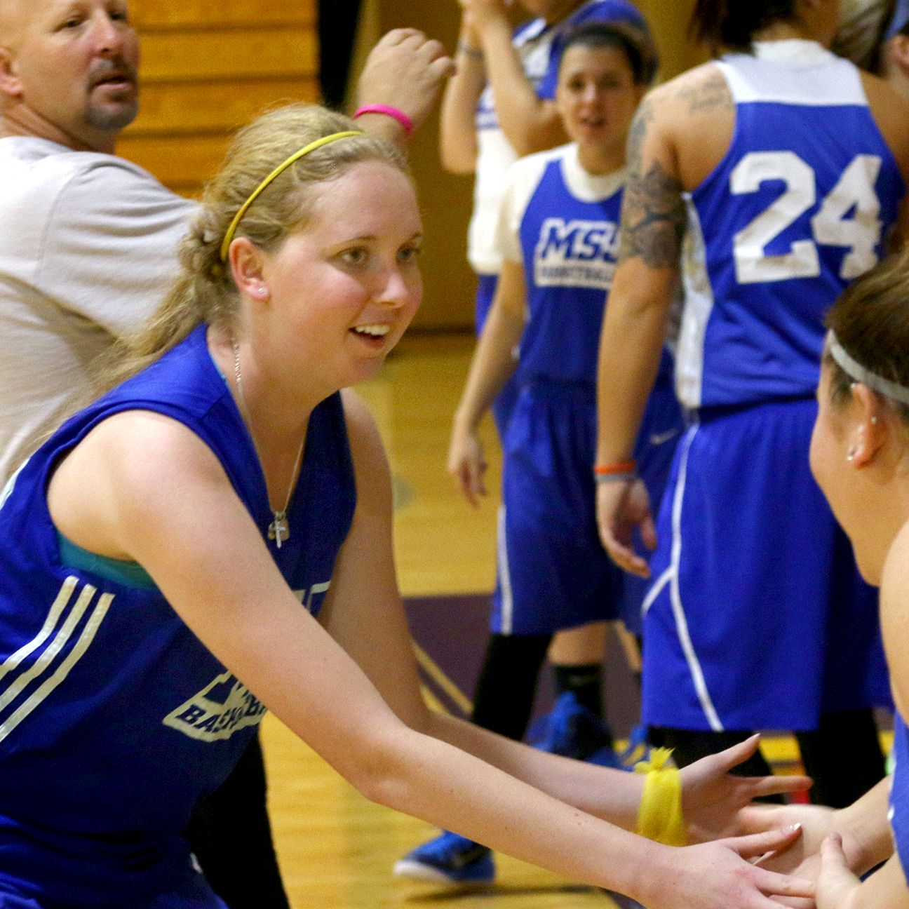 Lauren Hill, a freshman for Mount St. Joseph's with inoperable brain cancer, took a pass in the post...