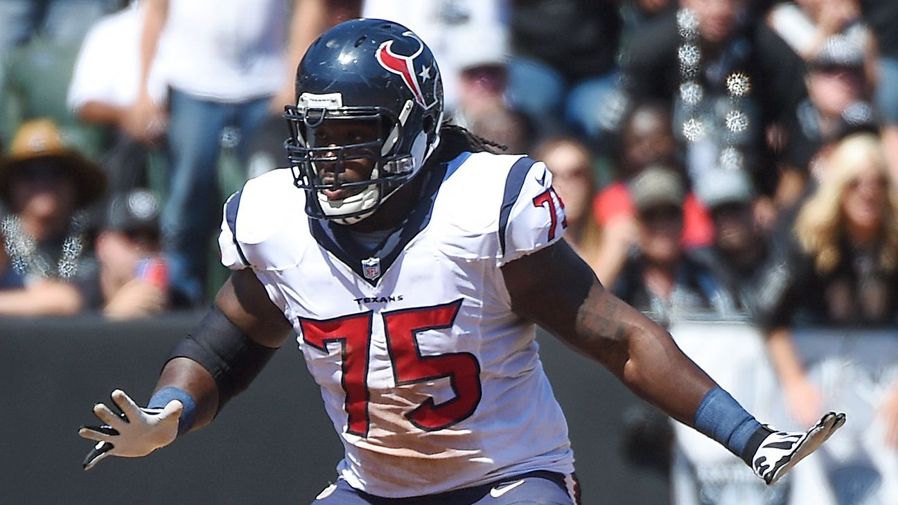 Derek Newton tore both of his patellar tendons in 2016 while with the Texans. He has not played since.