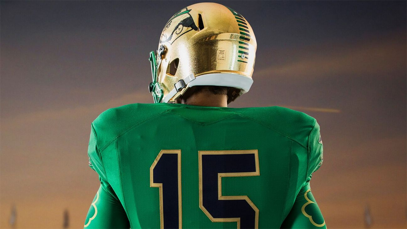 Notre Dame to wear new-look all-green uniforms vs. Boston College - ACC  Blog- ESPN f00b9ee78