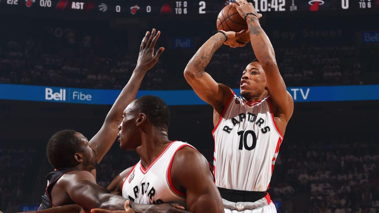Thanks to red shoelace, DeMar DeRozan, Raptors a win from East finals - NBA-  ESPN