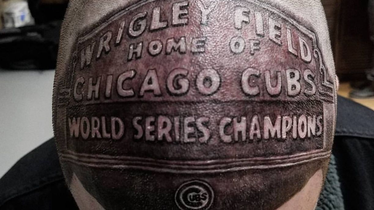Chicago Cubs fan gets Wrigley Field marquee tattoo on head