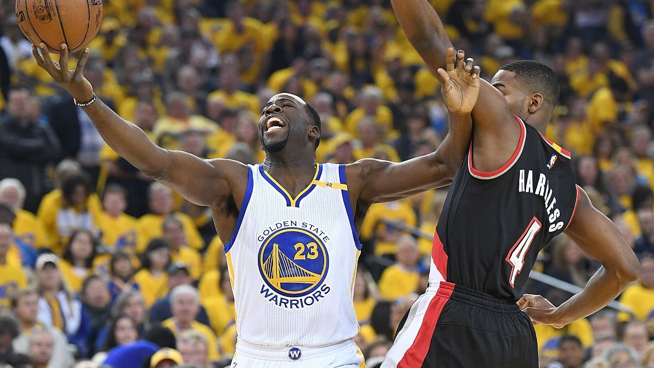 The Golden State Warriors pulled past the Portland Trail Blazers to win  Game 1 121-109 after Draymond Green   Co. finally doused Portland s  offensive ... d910fbedaba