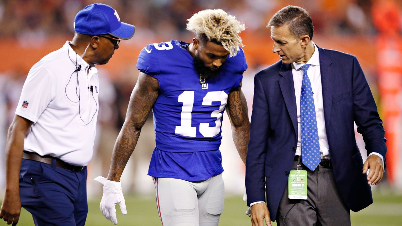 New York Giants wide receiver Odell Beckham could miss season opener vs. Dallas Cowboys due to ankle injury