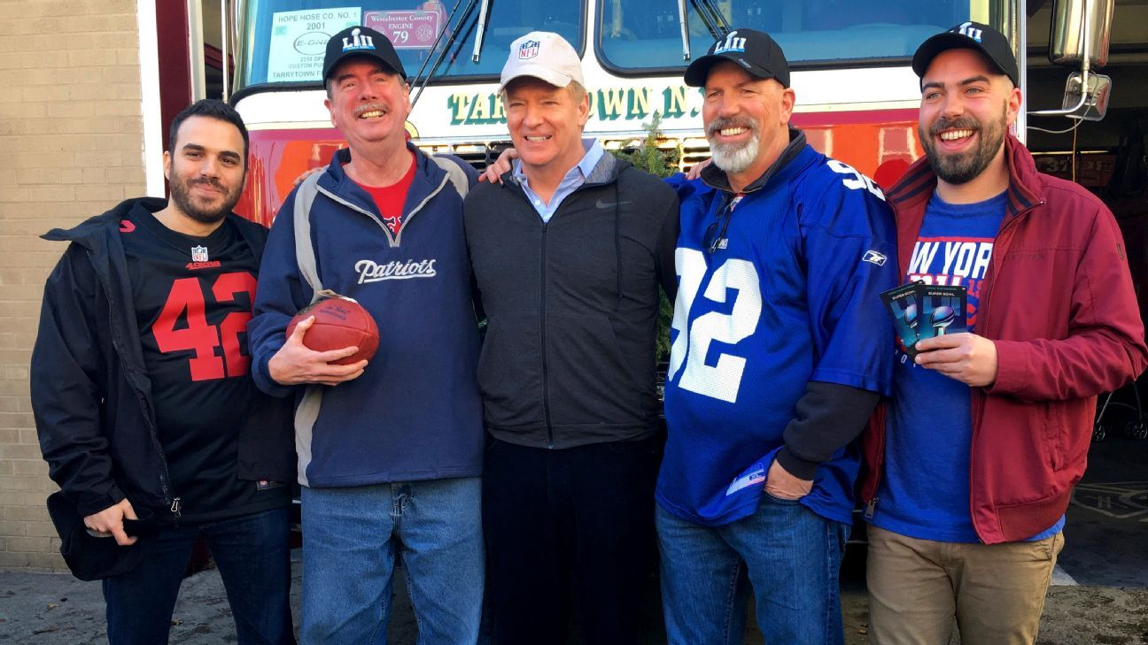 Roger Goodell entered the Hope Hose (N.Y.) firehouse on a Sunday morning  with a mini football and an NFL-logoed red shirt for Bill Duggan s  5-month-old ... bdc8213bafb9
