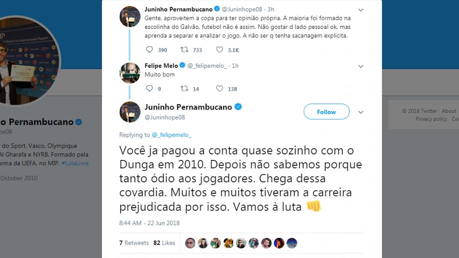 Juninho Pernambucano e Felipe Melo fazem