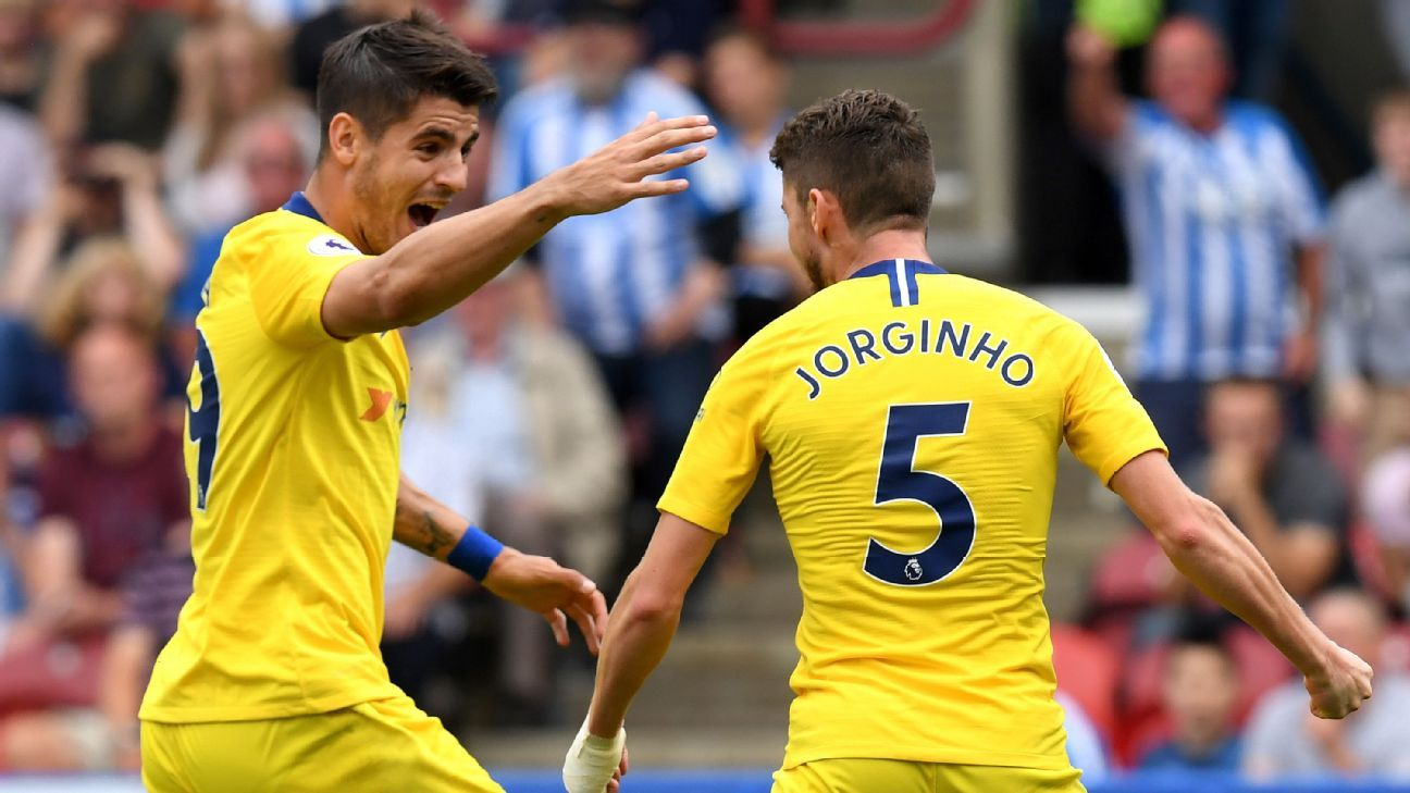 Jorginho's penalty lifts Chelsea at Huddersfield