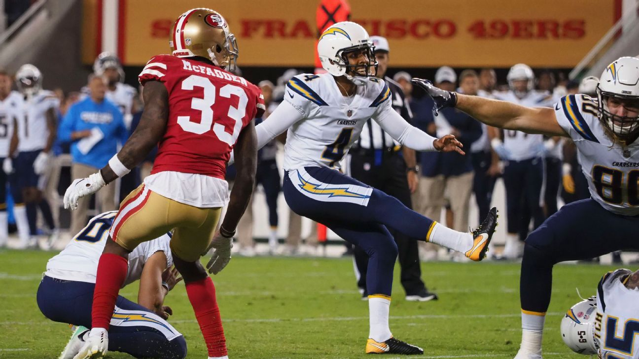 The Chargers have waived kicker Roberto Aguayo, a league source told ESPN's Field Yates. Caleb Sturgis has won their kicking competition, though Aguayo did show well this preseason.