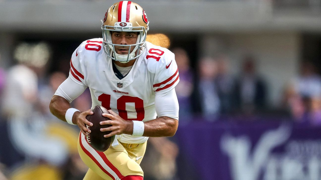 Jimmy Garoppolo suffered the first loss of his NFL career when the 49ers fell to the Vikings.
