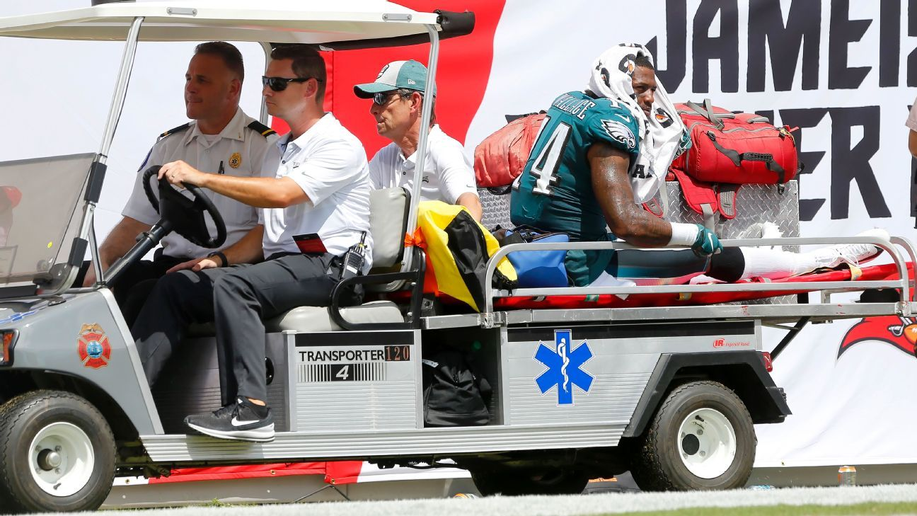 Eagles wide receiver Mike Wallace is out indefinitely with a fractured fibula suffered in Sunday's loss to the Buccaneers.