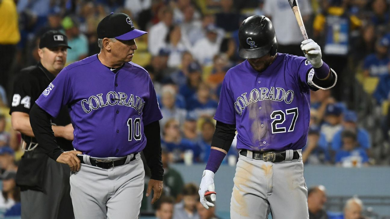 Rockies shortstop Trevor Story left Monday night's game in the middle of a fourth-inning at-bat with right elbow soreness and will be reevaluated Tuesday.