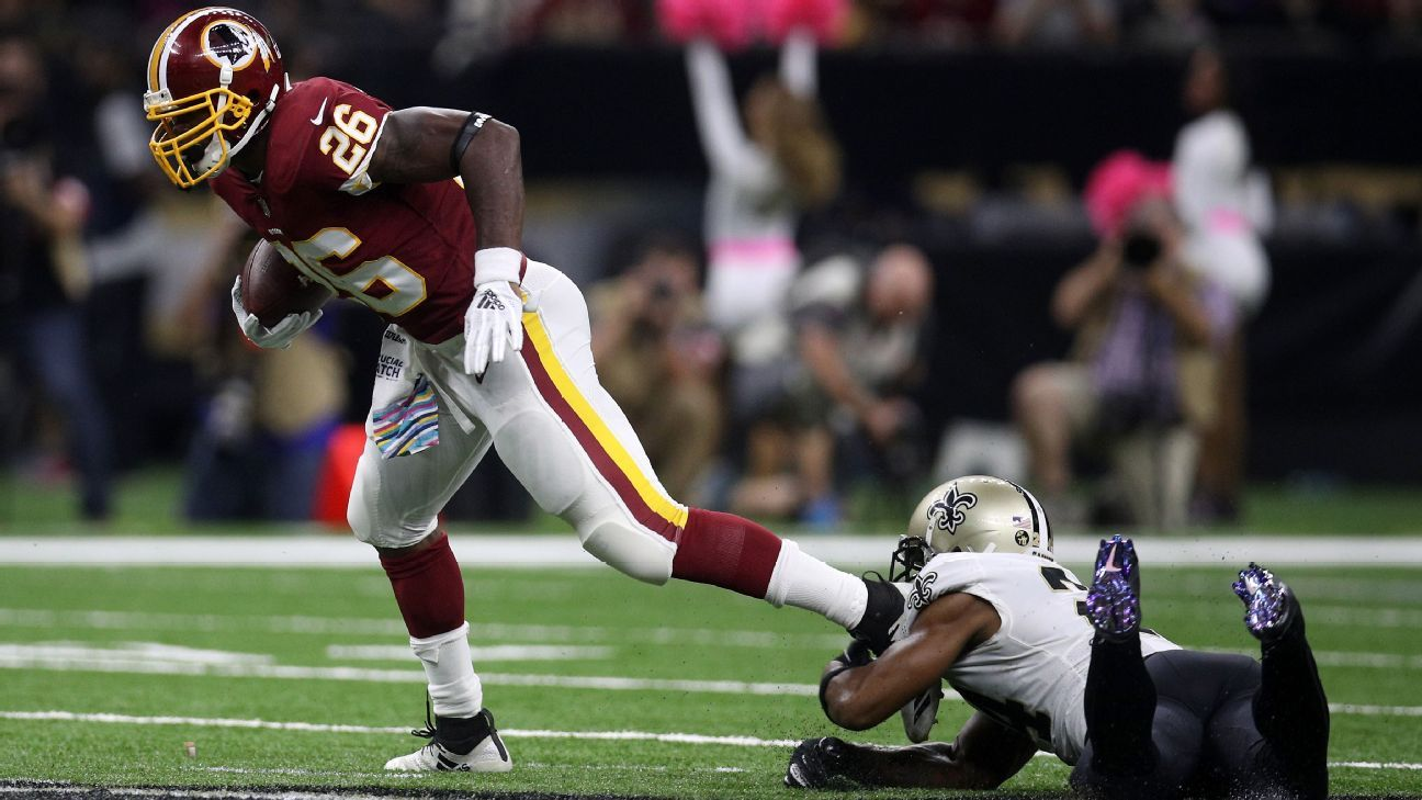 Redskins running back Adrian Peterson said he suffered a dislocated shoulder in Monday night's loss to the Saints, but it's
