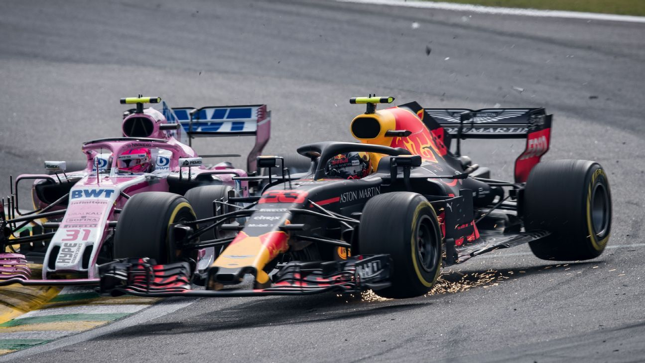 Livid Max Verstappen shoves Esteban Ocon after collision in Brazil