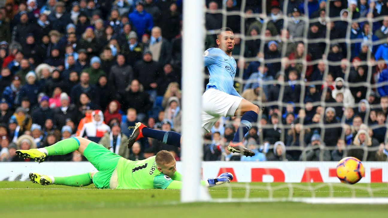 Man City bounce back with Everton win as Gabriel Jesus ...