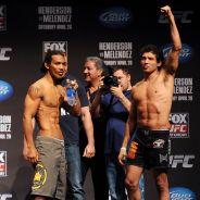 Benson Henderson and Gilbert Melendez during weigh-in