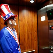 Uncle Sam rides the elevator