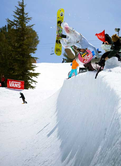 If Pat Bridges isn't at the iSnowboarder/i Mag office, you can probably find him lapping Mammoth's Unbound terrain park. Here he puts one down at the West Coast Invitational.