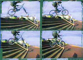 Ian Morris, barspin hop down eight stairs, from the cover of the 1996 Backyard video The Last Resort.