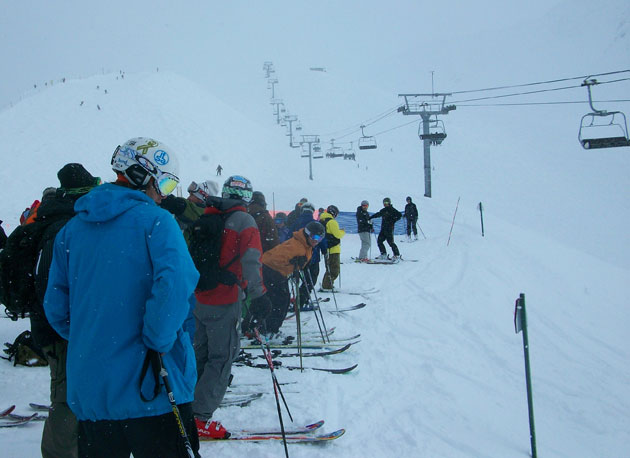 Day 2, Alyeska FWT, waiting to get up to the comp venue.