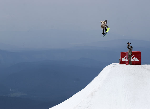 You could be at home playing video games...or you could be up at Mt. Hood sessioning hips like this.