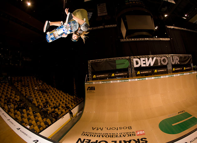 Rob Lorifice pulls a stylized kickflip indy during practice before the crowds filled the stands.