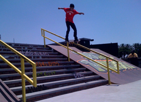 Chaz Ortiz is the first skater to hit the rail since it was put into the course.
