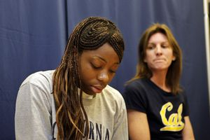As a freshman at Cal, Tierra Rogers, with then-coach Joanne Boyle, held a news conference to say she couldn't play basketball anymore.