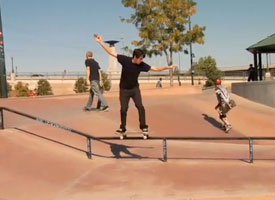Rick McCrank goes the distance on a 50-50 at the Denver skatepark whiel on an S filming trip.