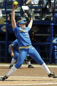 UCLA's Megan Langenfeld delivered in the circle and at the plate for the Bruins on Thursday.