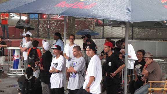Pros and ams from the DGK camp wait out the rain beneath the Manhattan bridge.From left: Lenny Rivas, Rodrigo Lima, Wade DesArmo and Jack Curtin.