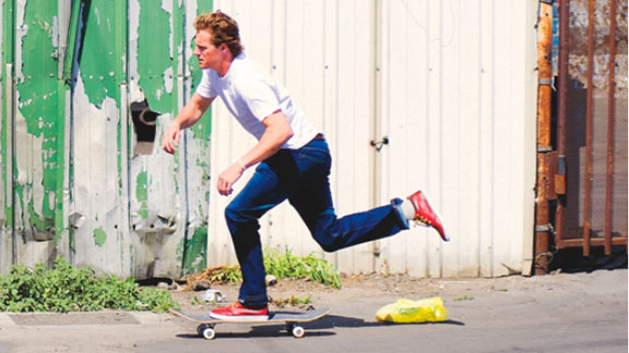 Those aren't Nikes! Reese Forbes extends his classic push in some new Quiksilver skate shoes.