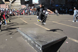 NYC's big ollie champ, Luis Tolentino goes up and over the slab.