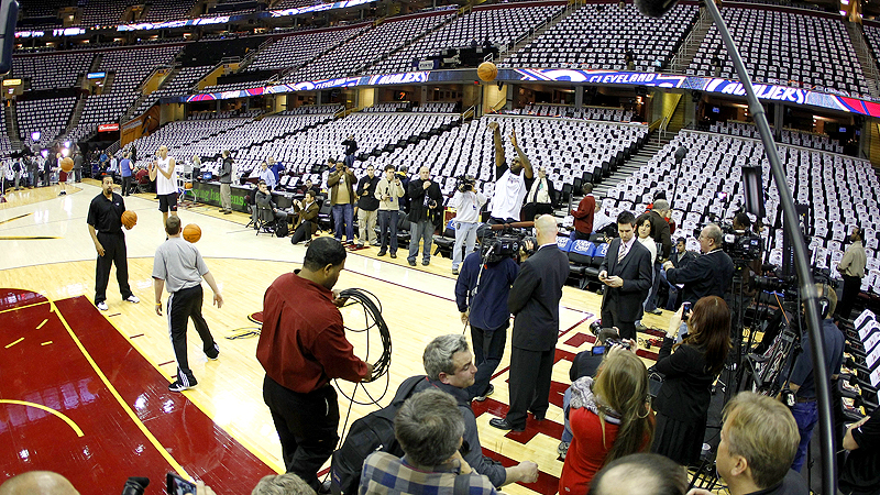 Media and security surround LeBron James