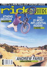 Shaun Butler on the cover of Ride BMX Magazine in 1999.