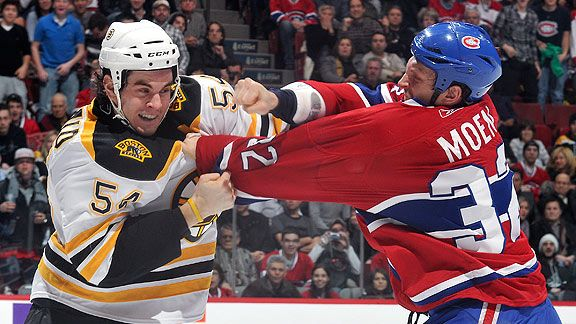 These gentlemen aren't fighting. Montreal's Travis Moen and Boston's Adam McQuaid are dancing, of course.