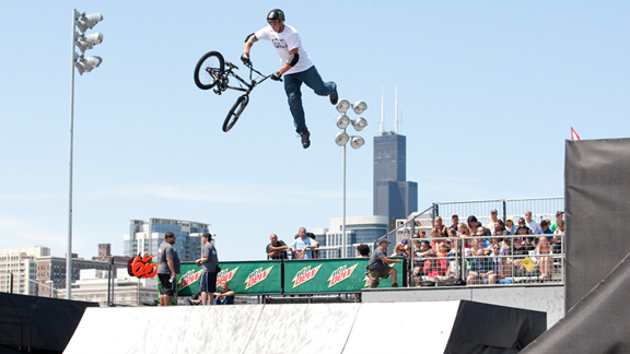 Mike Spinner, seen here during a triple whip at the 2010 Dew Tour Open, took the more traditional route to achieve pro status, competing in an amateur contest series and advancing to the pro class after winning the year-end amateur title.