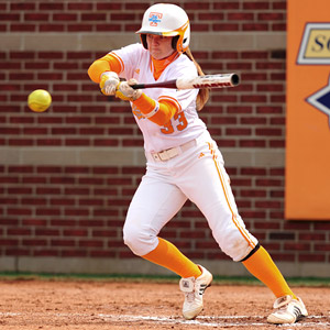 Tennessee's Kat Dotson hasn't let a bad knee slow her down at the plate,  where she can slap, steal and hit for power.