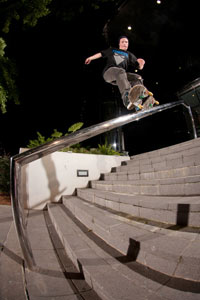 Chris Mathis nails a nollie frontside feeble while on a trip to North Carolina.