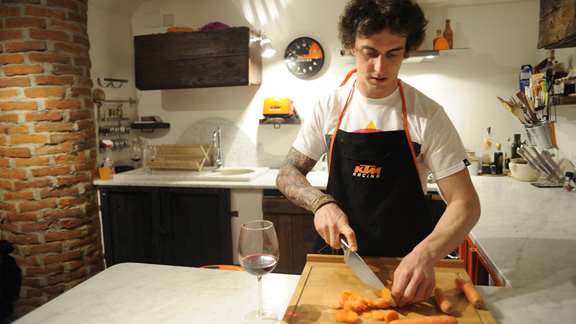 When he's not riding with his Daboot Crew, Vanni can be found at his northern Italy hideaway cooking up a mean Italian meal for his amicos.