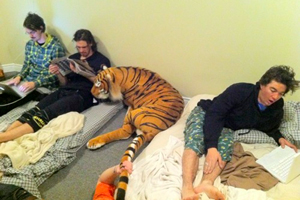 Three dudes and a tiger. Just another day on the road with JP, Sexton, Jones and Andrew Chamberlain.