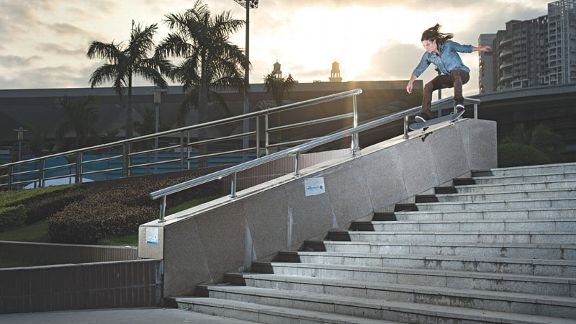 Kevin Spanky Long kickflips into a noseslide a few months before he suffered third-degree burns.