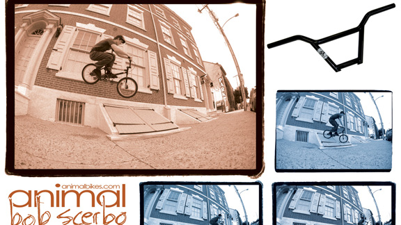 Scerbo in a later ad from Animal, featuring the latest version of his signature handlebars.