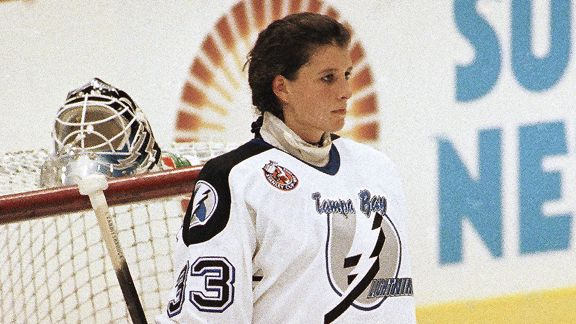 Manon Rheaume allowed two goals on nine shots in a preseason game against the Blues.