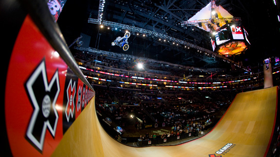 Dave Mirra flairs the MegaRamp during his final year of competition in Big Air at X Games 15.