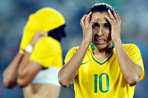 Marta was distraught after Brazil lost to the U.S. in the gold medal match at the Beijing 2008 Olympics.