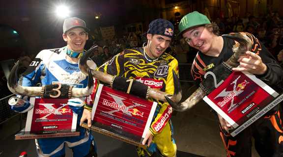 Got wings? How about bullhorns? Josh Sheehan, Dany Torres, and Blake Williams show off their unique hardware after the big show. After party time!