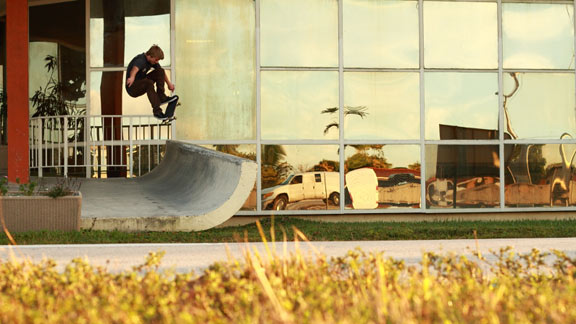 Josiah snaps an ollie on a tight street transition in Florida that's seen its share of sessions.