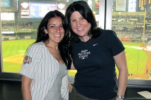 Stefanie Gordon and Amanda Rykoff hit Chase Field in Arizona as part of their 2010 Yankees road trip.