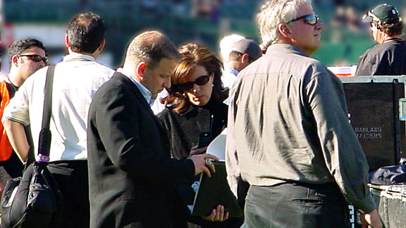 Amy Trask, on the sidelines before a Raiders game, is the only woman to hold a chief executive role in the NFL.