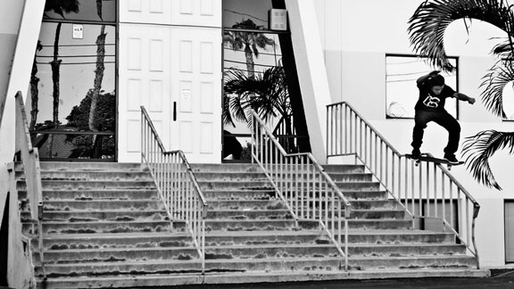 Scott Decenzo boardslides through a dangerous kinker.